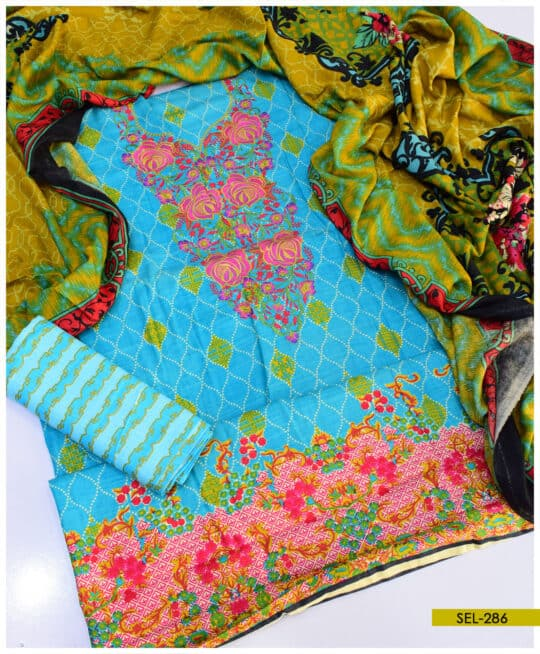 Printed Khaddar Neck Embroidered 3 PC Suit – SEL286