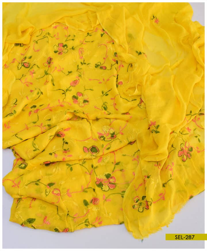 Ladies Chiffon Aar Kacha Jaal Hand Embroidered Un-Stitched Shirt and Dupatta - SEL287