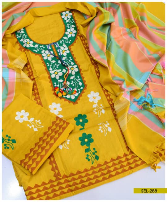 3 PCs Aari Embroidery Light Weight Marina Suit – SEL288