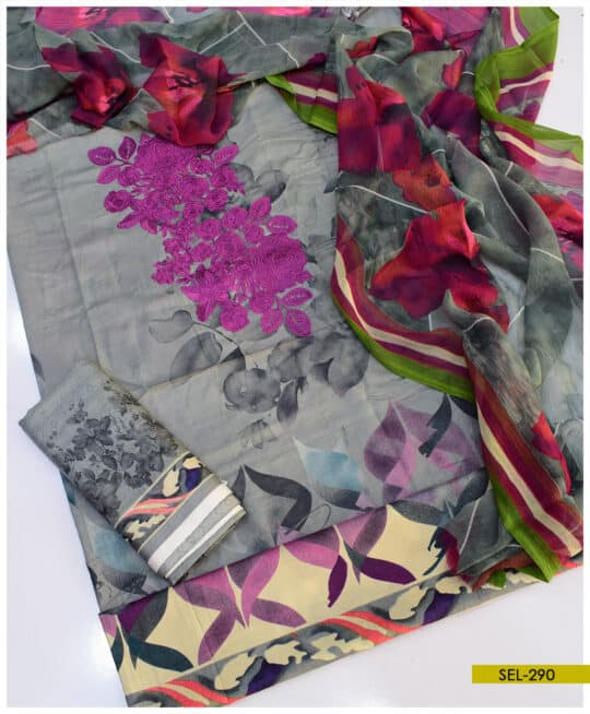 3 PCs Printed Linen Neck Embroidered Suit with Chiffon Dupatta – SEL290