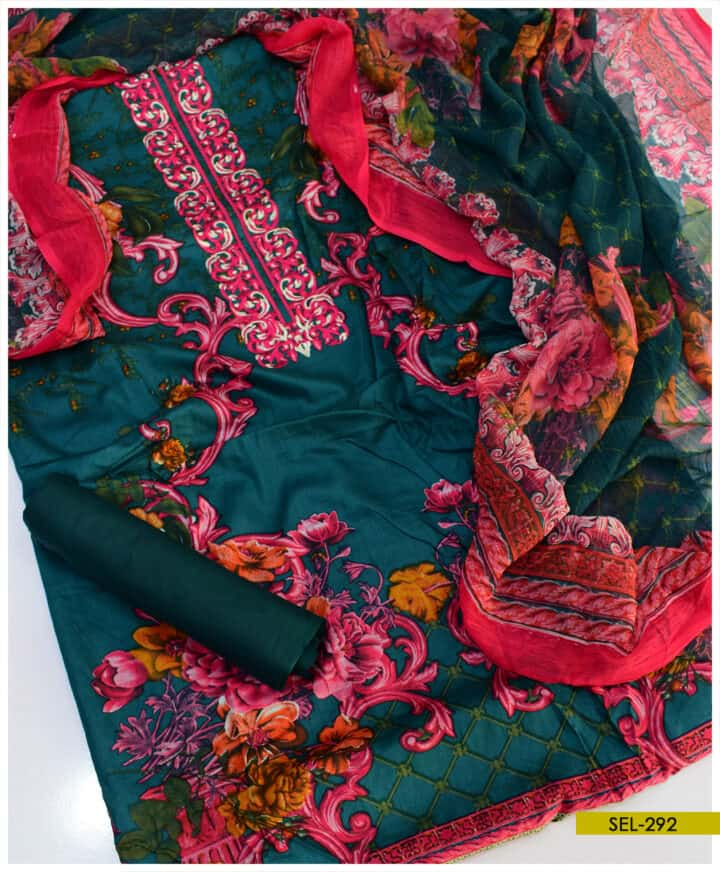 3 PCs Printed Linen Neck Embroidery Suit - SEL292