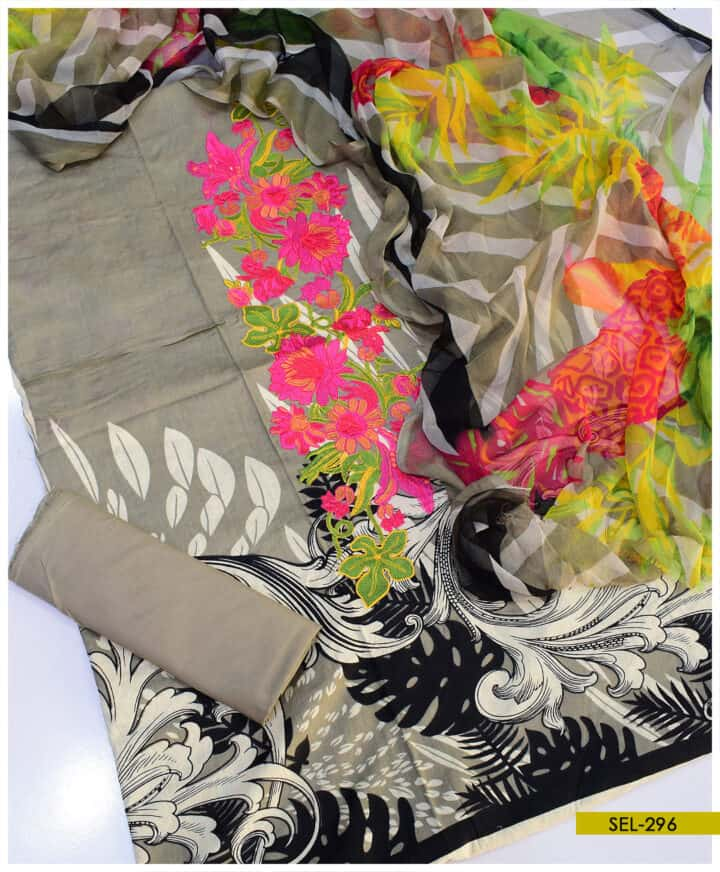 Printed Linen Neck Embroidered 3 PC Un-Stitched Suit - SEL296