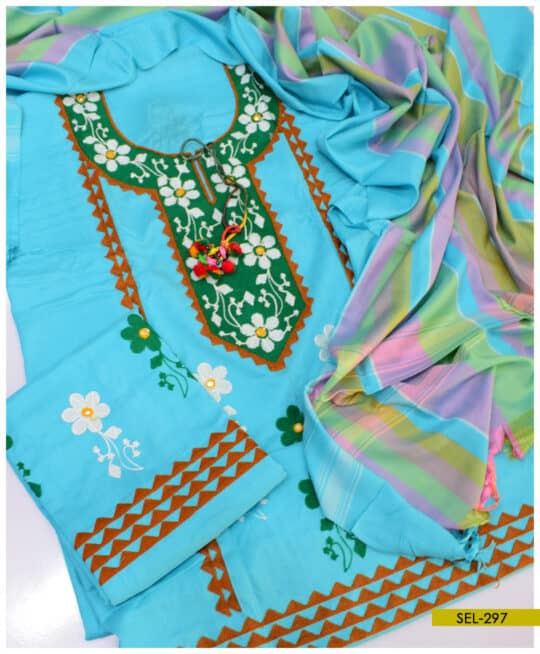 Light Weight Marina 3 PCs Machine Embroidered Un-Stitched Suit – SEL297