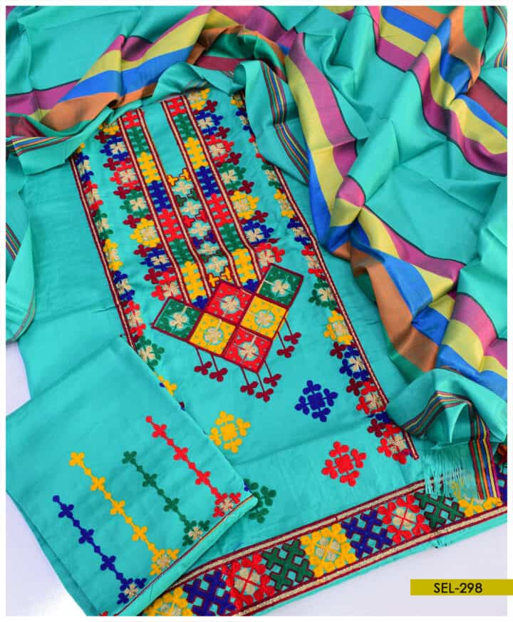 3 PCs Machine Embroidered Light Weight Marina Suit - SEL298
