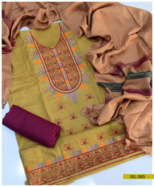 3 PC Light Weight Marina Unstitched Embroidered Suit – SEL300