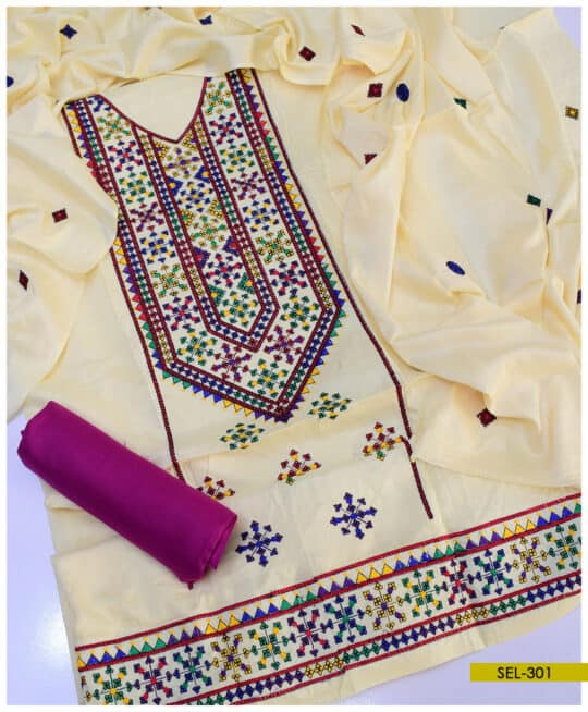 Light Weight Marina 3 PCs Machine Embroidered Suit – SEL301