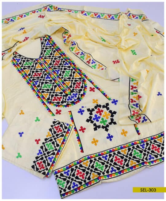 3 PCs Computer Embroidered Light Weight Marina Suit – SEL303