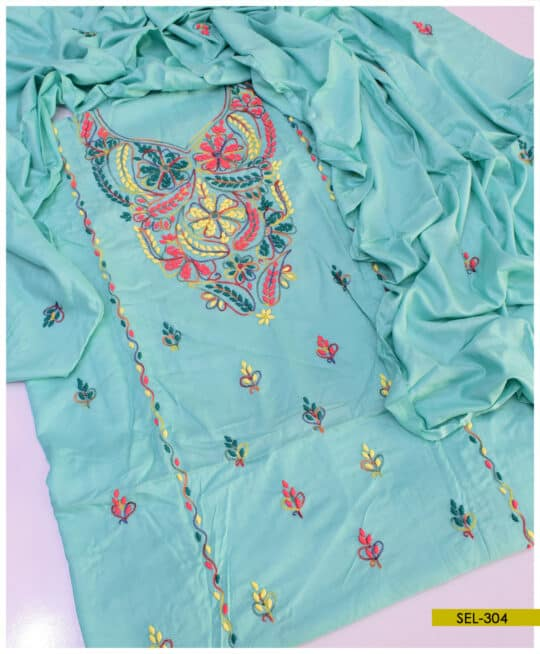 3 PCs Hand Embroidered Linen Suit – SEL304