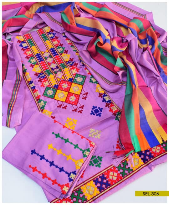 Light Weight Marina 3 PCs Machine Embroidered Un-Stitched Suit – SEL306
