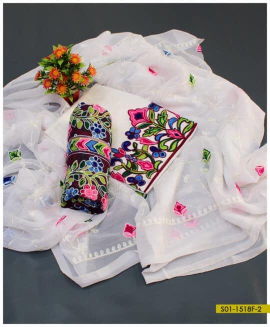 3 PCs Lawn Embroidered Ajrak Suits With Chiffon Dupatta – S01-1518F