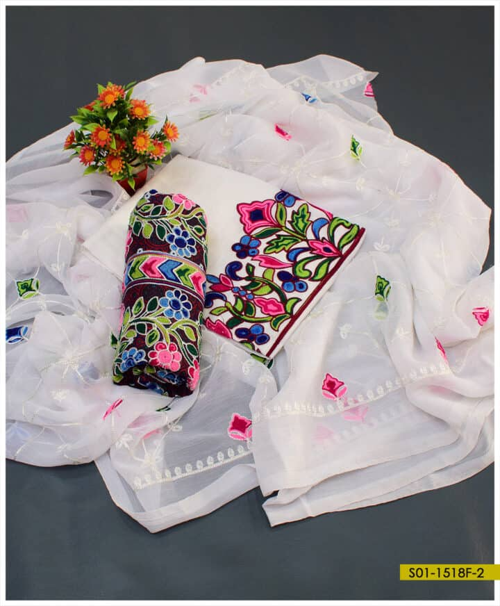 3 PCs Lawn Embroidered Ajrak Suits With Chiffon Dupatta - S01-1518F
