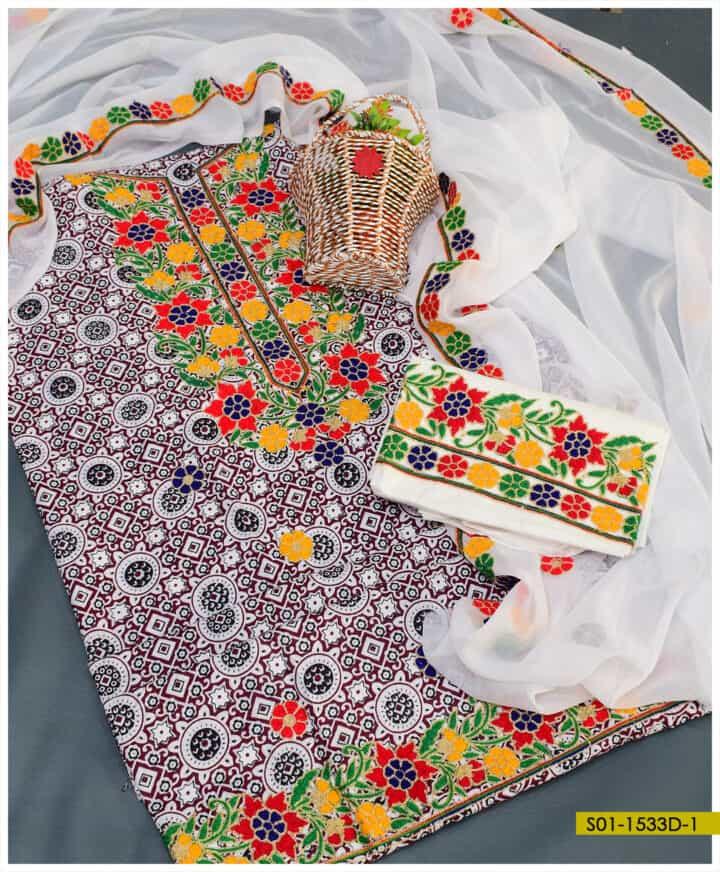 3 PC Ajrak Machine Embroidered Suit with Chiffon Dupatta - S01-1533D1