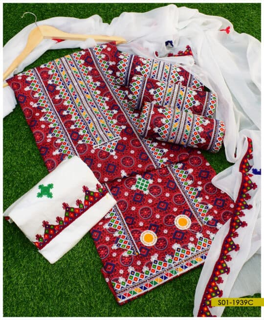 3 PCs Ajrak Lawn Aari Embroidery Un-Stitched Suits With Chiffon Dupatta - S01-1939C