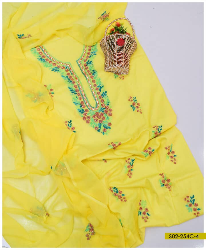 Hand Embroidered 3 PCs Lawn Gotta Work Suits With Chiffon Dupatta - S02-254C4
