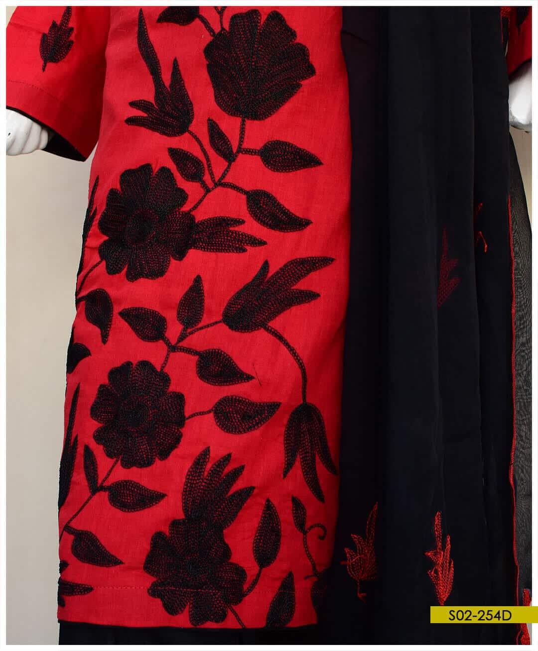 Aar Patta Work on 3 PCs Lawn Un-Stitched Suit with Chiffon Dupatta - S02-254D