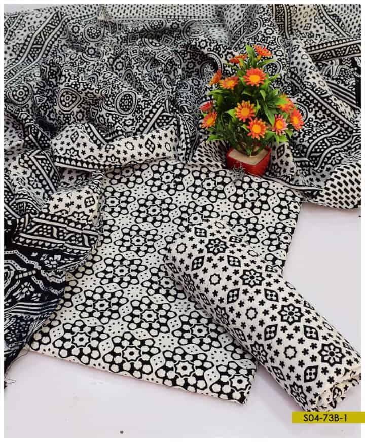 Cotton Ajrak 3 PCs Un-Stitched Suits - S04-73B