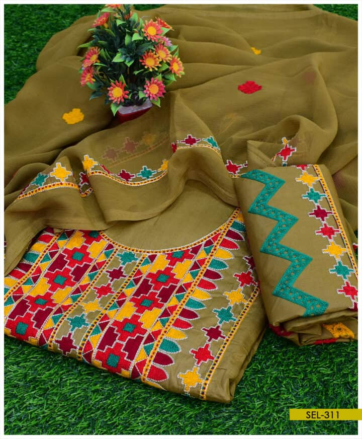 3 PCs Cotton Lawn Machine Embroidered Suit with Shiffon Dupatta - SEL311