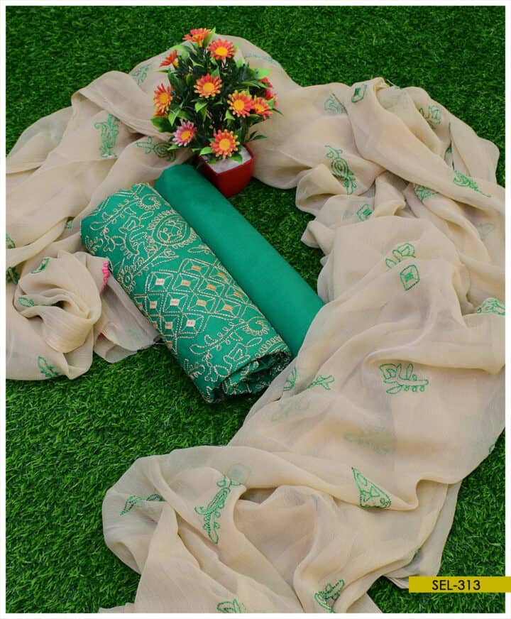 3 PCs Cotton Lawn Machine Embroidered Suit With Chiffon Dupatta - SEL313