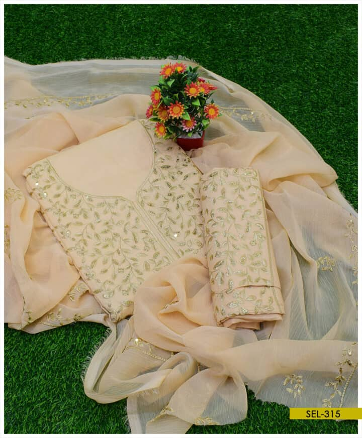 3 PCs Cotton Lawn Bareeze Style Neck Border Embroidered Suit with Chiffon Dupatta - SEL315