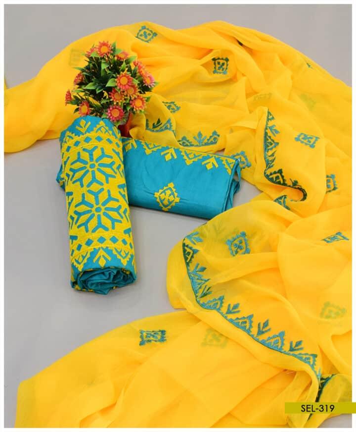 3 PCs Cotton Lawn Machine Work Applique Style Embroidery With Chiffon Dupatta - SEL319