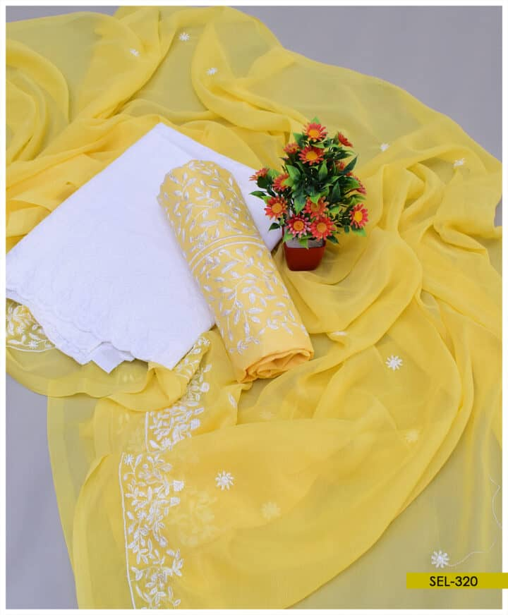 Bareeze Embroidery Cotton Lawn 3 PCs Unstitched Suit with Chiffon Dupatta - SEL320