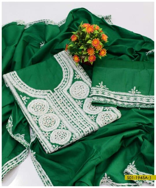 3 PC Cotton Lawn Hand Embroidered Heavy Work Suits With Lawn Dupatta - S01-1945A