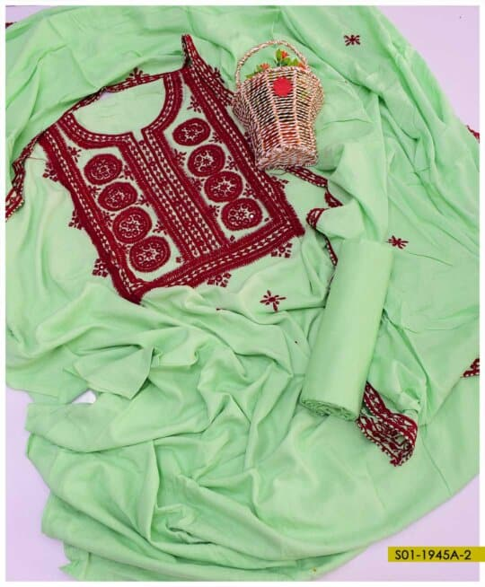 3 PC Cotton Lawn Hand Embroidered Heavy Work Suits With Lawn Dupatta - S01-1945A2