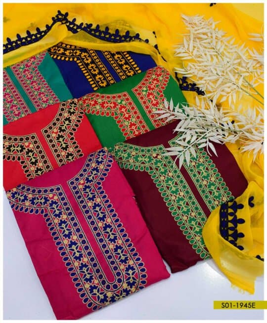 3 PC Cotton Lawn Beautifully Embroidered Suits With Chiffon Dupatta - S01-1945E