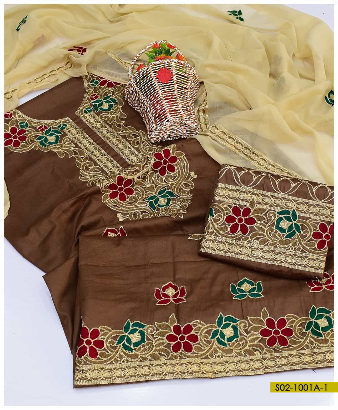 Cotton Lawn 3 PCs Aari Embroidered Summer Suits with Chiffon Dupatta - S02-1001A1
