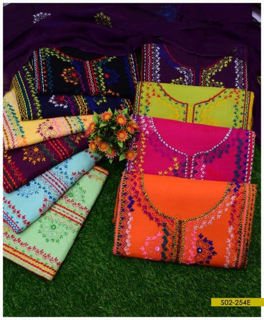 3 PC Lawn Hand Embroidered Balochi Embroidery Suits With Chiffon Dupatta - S02-254E