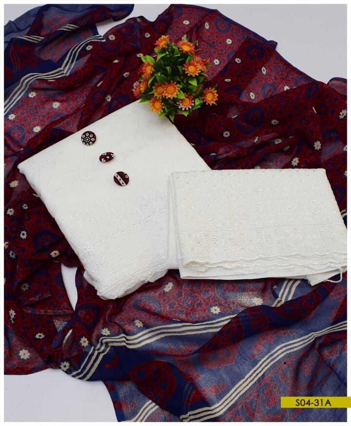 3 PC Cotton Chikan Shirt and Trouser with Chiffon Ajrak Dupatta - S04-31A