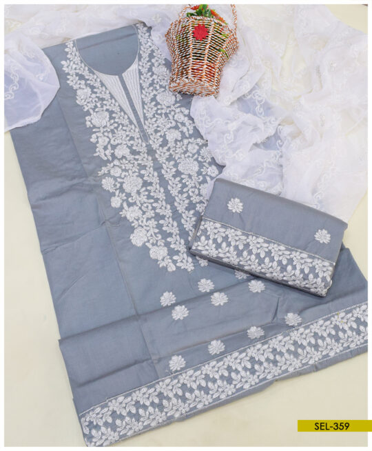 3 PC Cotton Lawn Machine Embroidery Suit with Chiffon Dupatta - SEL359