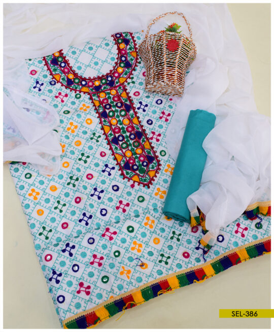 3 PC Cotton Lawn Machine Embroidered Suit With Chiffon Dupatta - SEL386