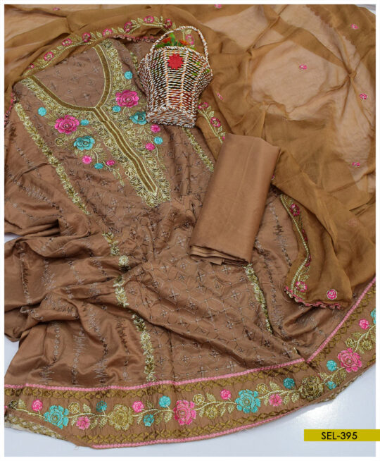 Linen 3 PC Machine Embroidered Suit With Chiffon Dupatta - SEL395