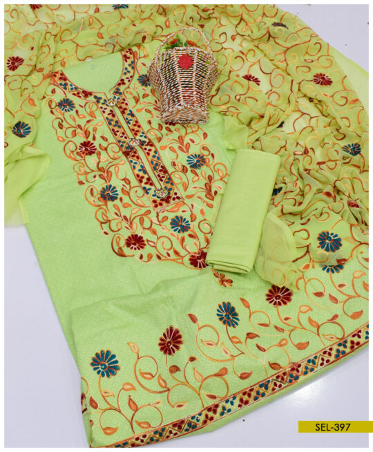 Cotton Lawn Aar Embroidered Suit With Chiffon Dupatta - SEL397