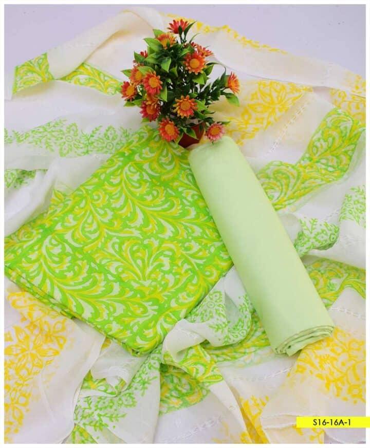 3 PC 90-70 Premium Lawn Block Printed Suits with Chiffon Tarkashi Dupatta - S16-16A