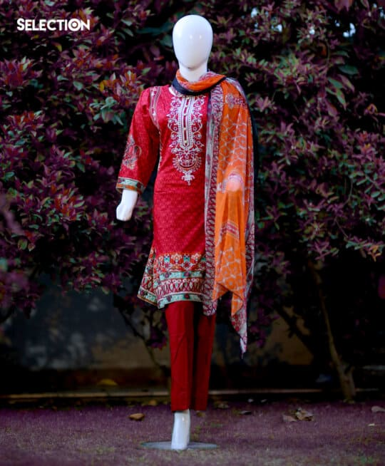 3 PC Stitched Printed Lawn Neck Embroidered Suit with Printed Chiffon Dupatta - RTW-C