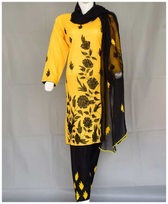 3 PCs Stitched Lawn Hand Embroidered Aar Patta Work Suits With Chiffon Dupatta - RTW-D