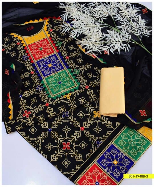 3 PC CottonLawn Machine Embroidered Suits With Chiffon Dupatta - S01-1948B3