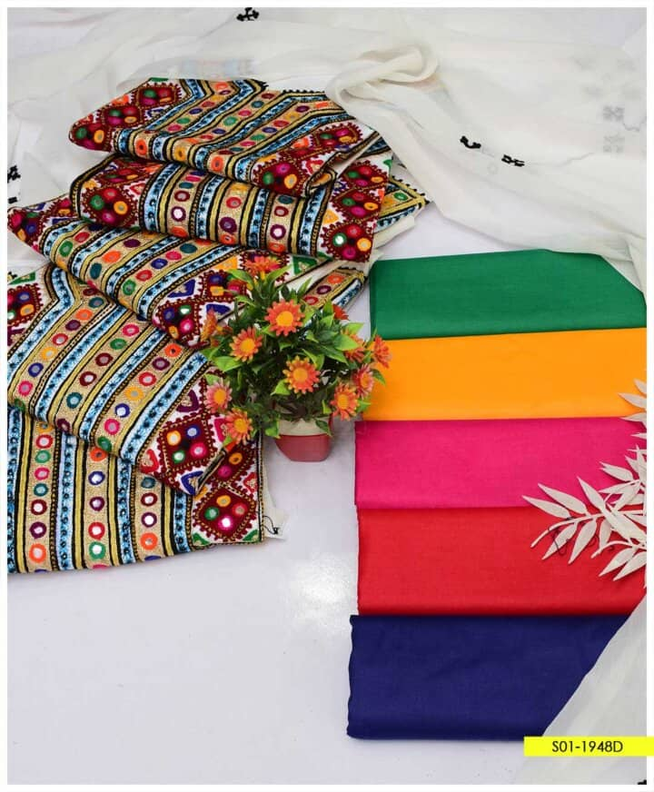 3 PC Traditional Style Embroidered Cotton Lawn Suit AChiffon Dupatta- S01-1948D