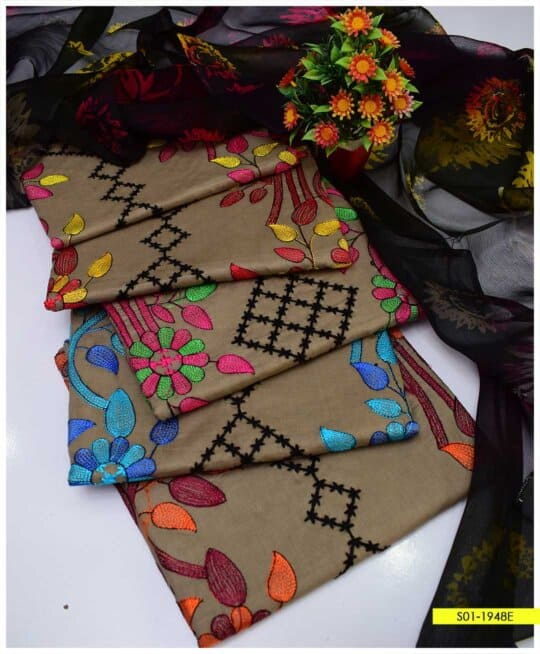 3 PC Cotton Lawn Colorful Embroidered Summer Suits with Chiffon Dupatta - S01-1948E
