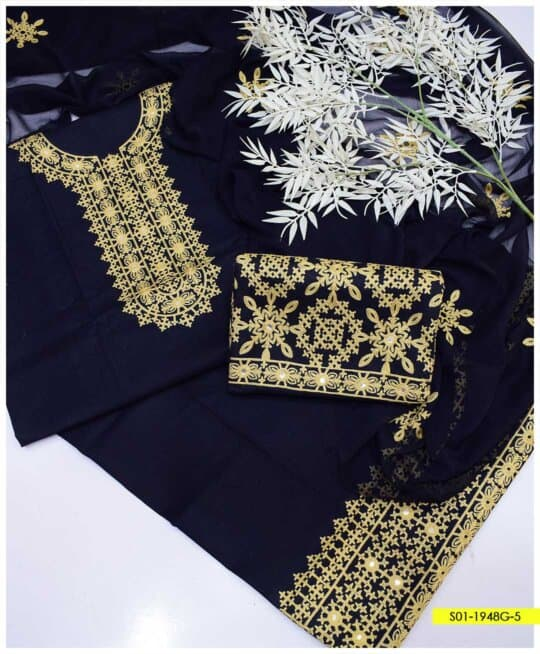 3 PCs Aari Embroidered Cotton Lawn Summer Dresses with Chiffon Dupatta - S01-1948G5