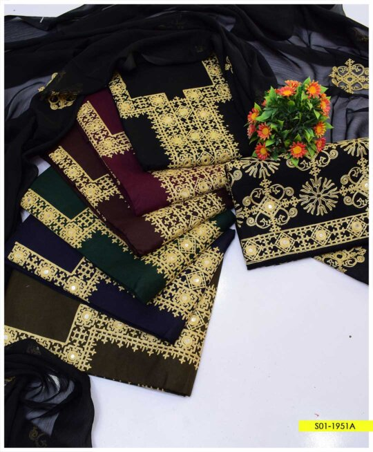 3 PCs Unstitched Aari Embroidered Cotton Lawn Suits with Chiffon Dupatta - S01-1951A