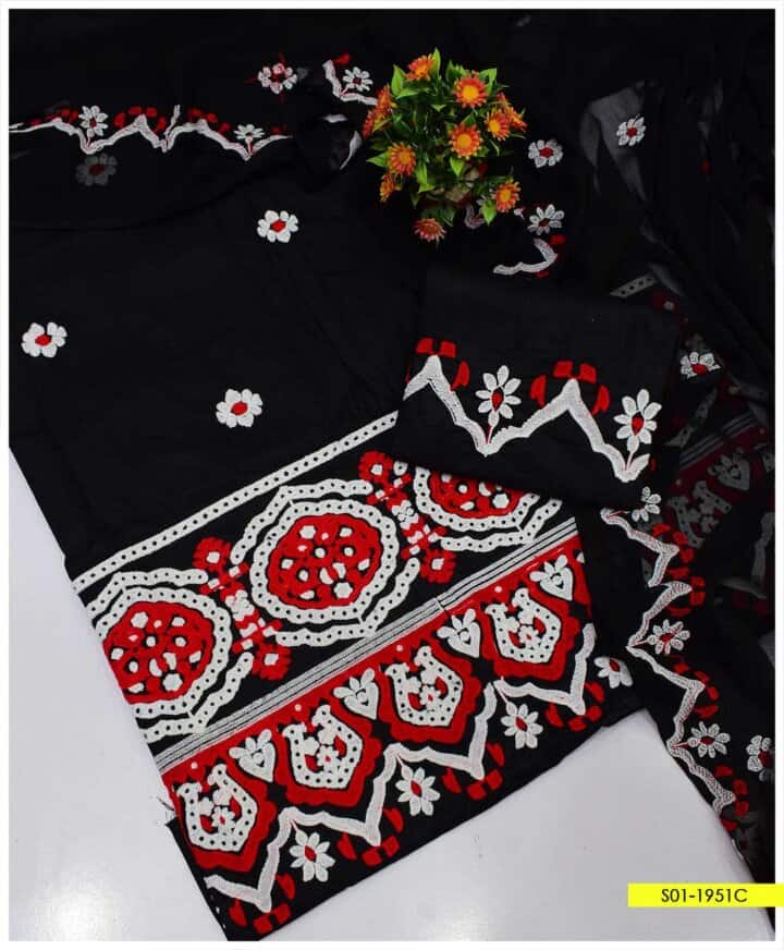 3 PC Machine Embroidered Cotton Lawn Summer Suits with Chiffon Dupatta - S01-1951C