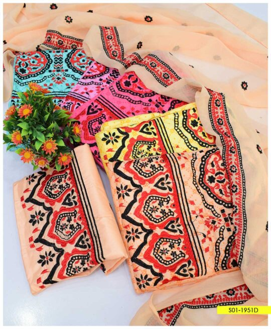 3 PCs Printed Cotton Lawn Embroidered Suits with Chiffon Dupatta - S01-1951D