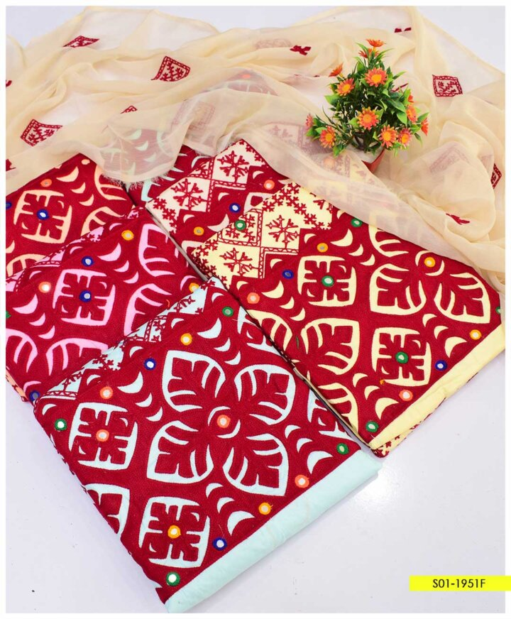 3 PCc Aari Embroidered Cotton Lawn Summer Suits with Chiffon Dupatta - S01-1951F