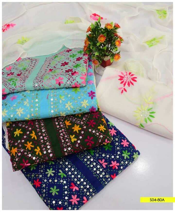 3 PCs Unstitched Hand Embroidered Phulkari Work Lawn Suits with Chiffon Dupatta - S04-80A