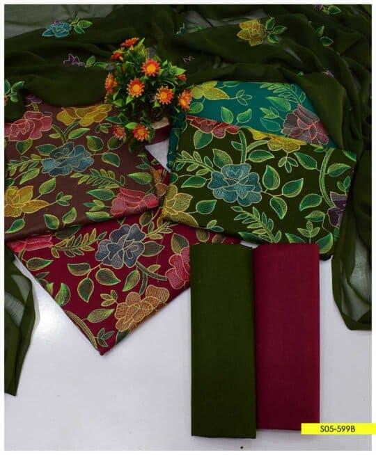 3 PCs Kacha Jaal Work Cotton Lawn Summer Suits with Chiffon Dupatta