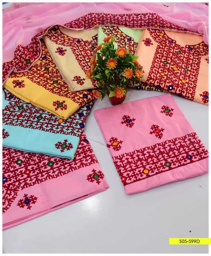 3 PCs Aari Embroidery Cotton Lawn Summer Suits with Chiffon Dupatta - S05-599D