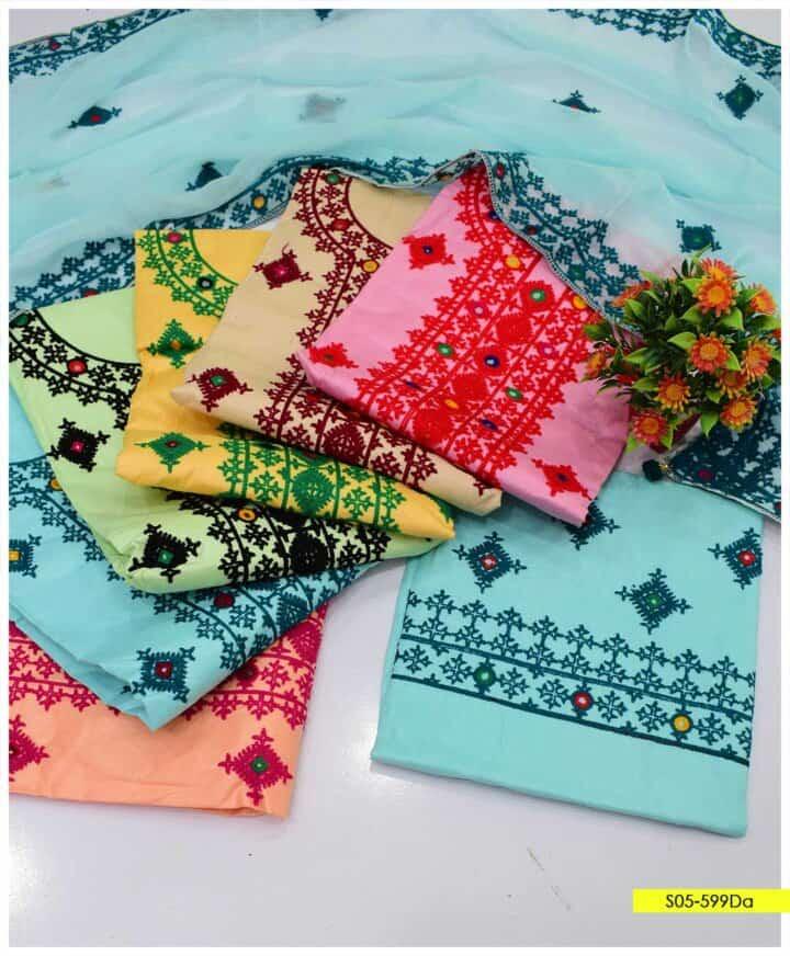 3 PCs Sindhi Embroidery Cotton Lawn Summer Suits with Chiffon Dupatta - S05-599Da